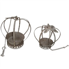 Rust Aged Metal Hanging Crown Planters