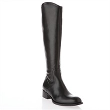 Black Leather High Leg Boots 2.5cm Heel