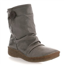 Taupe Leather Moonflower Button Boots