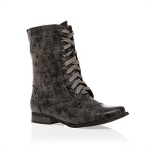 Grey Distressed Military Boots 2cm Heel