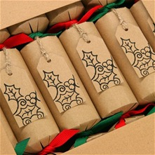 Set of Six Brown Recycled Holly Crackers