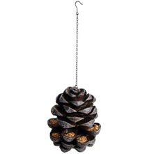 Grey Hanging Pinecone Bird Feeder