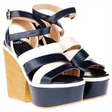 White/Navy Platform Shoes 12.5cm Heel