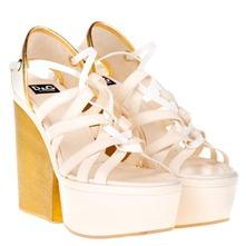 Ivory/Gold Platform Shoes 12.5cm Heel