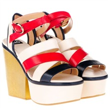 White/Red/Navy Platform Shoes 12.5cm Heel