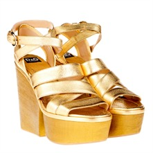 Gold Leather Platform Shoes 12.5cm Heel