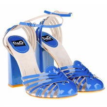 Blue Leather Anklestrap Shoes 10cm Heel