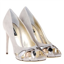 White/Gold/Silver Leather Leaf Peep Toe Shoes 11cm Heel