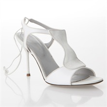 White Leather Stiletto Sandals 9cm Heel