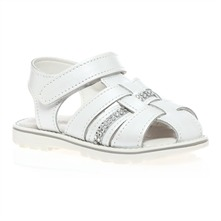 White Leather Diamante Sandals