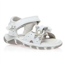 White Leather Flower Sandals