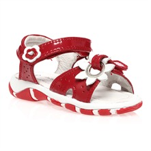 Red Patent Leather Flower Sandals