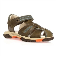 Khaki/Orange Leather Rip Tape Sandals