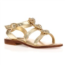 Gold Leather Heart Diamante Sandals