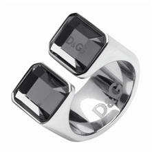 Ladies Silver Square Glass Stone Ring