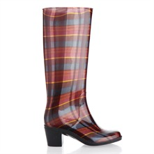 Brown Check Heeled Wellington Boots 6cm Heel