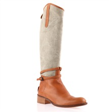 Tan/Khaki Panelled Boots 4cm Heel
