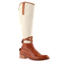 Tan/Cream Panelled Boots 4cm Heel