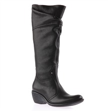 Black Nappa Long Boots 5cm Heel