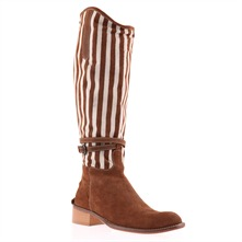 Brown/Beige Striped Long Boots 4cm Heel