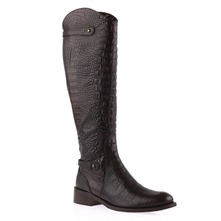 Black Leather Textured Long Boots 4cm Heel