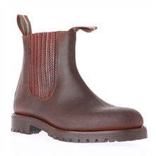Men's Dark Brown Leather Elasticated Chelsea Boots