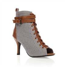 Grey Studded Ankle Boots 9cm Heel
