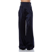 Pantalon large satiné marine