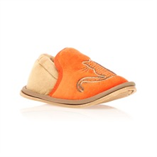 Chaussons chat orange et beige