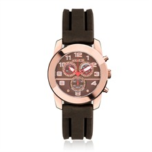 Montre chrono en silicone marron et rose