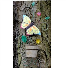 Yellow/Multi Butterfly Metal Wall Planter