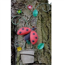 Yellow/Multi Ladybird Metal Wall Planter
