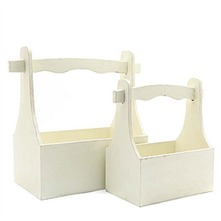 Set of Two Antique Cream Wooden Tool Box Planters 40cm