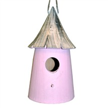 Antique Pink Wooden Birdhouse
