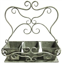 Olive Three Pot Metal Planter