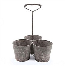 Set of Three Grey Rusty Plant Pots