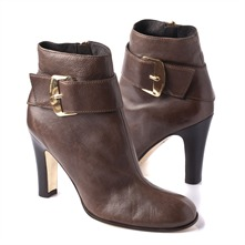 SS Brown Buckle Ankle Boots 9 cm Heel