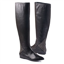 SS Black Leather Studded Boots