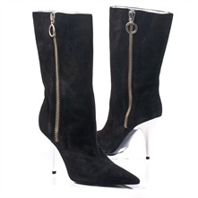 SS Black  Zip Boots 10cm Heel