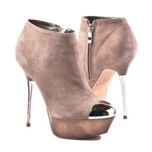 SS Taupe Peep Toe Platform Ankle Boots 10cm Heel