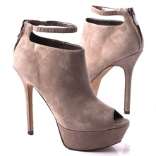 SS Taupe Peep Toe Ankle Boots 11.5cm Heel