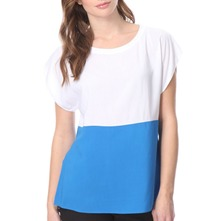 Blue/White Colour Block Top