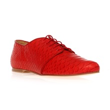 Derbies en cuir aspect python rouge