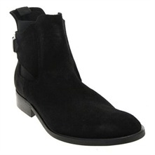 Men footwear: Black Lama Suede Boots