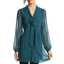 Teal Long Sleeve Shirt Dress