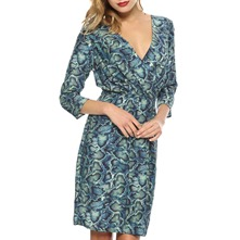 Blue/Green Reptile Print Wrap Dress