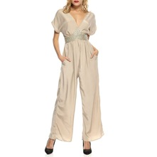 Beige Embellished Wide Leg Jumpsuit 26