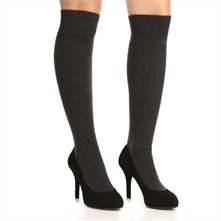 Black/Grey Socks/Shoes 10cm Heel