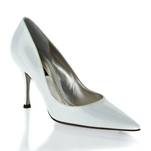 White Patent Pointed Toe Stilleto Shoes 9.5cm Heel
