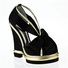 Black/Gold Wedge Peep Toe Shoes14cm Heel